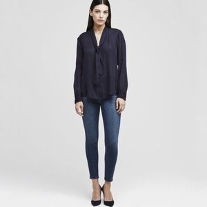 L'AGENCE Gisele Tie Neck Silk Navy Midnight Button Down Long Sleeve Blouse